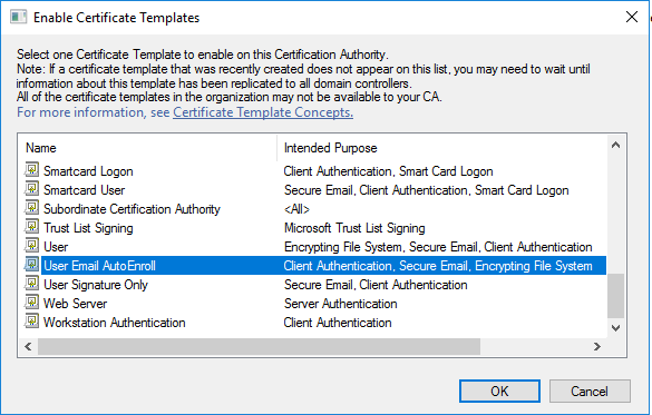 Deploy a pki on windows server 2016 part 5 timothy grubers blog scroll down to find the template you created user email autoenroll and click ok yelopaper Image collections